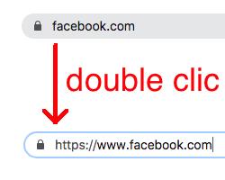 Capture d'écran montrant l'effet du double clic dans la barre de recherche de Google Chrome.